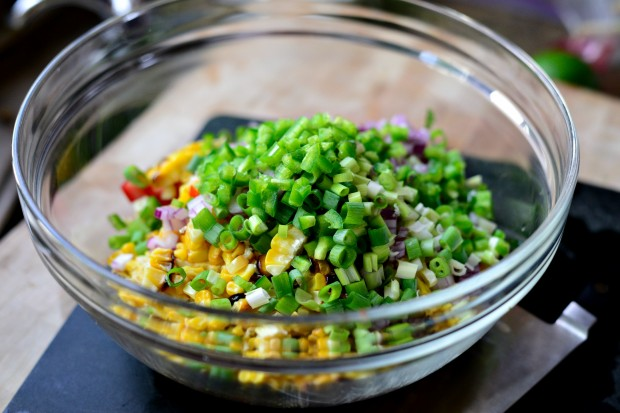 Grilled Corn Pico de Gallo l www.SimplyScratch.com green onion and jalapeno
