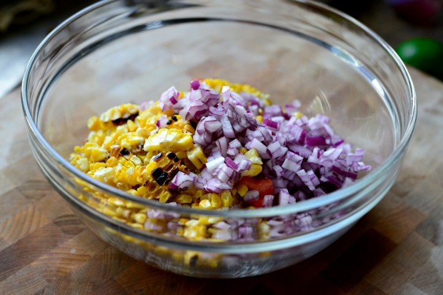 Grilled Corn Pico de Gallo l www.SimplyScratch.com onion in bowl