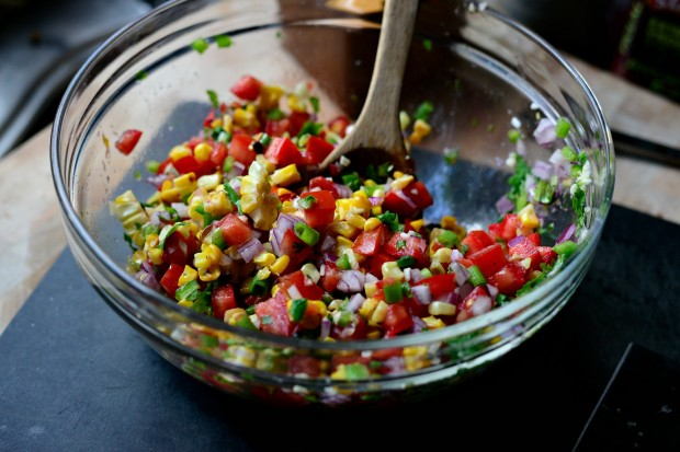 Grilled Corn Pico de Gallo l www.SimplyScratch.com stir