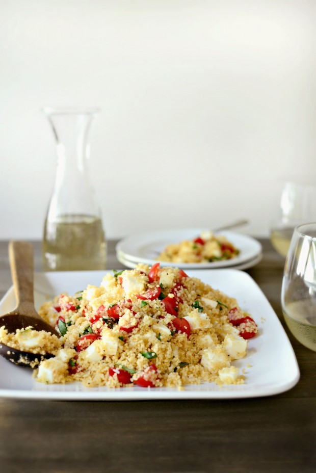 Tomato, Basil + Mozzarella Couscous l www.SimplyScratch.com #recipe