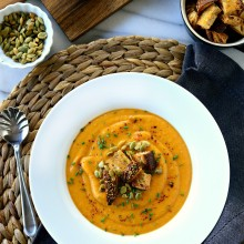 Sweet Potato Tomatillo Soup l SimplyScratch.com
