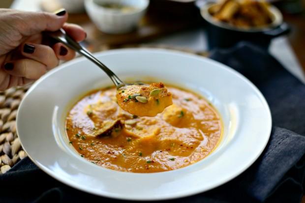 Sweet Potato Tomatillo Bisque l SimplyScratch.com