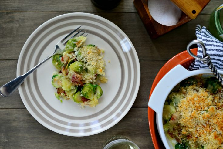 White Cheddar, Bacon + Brussels Sprout Gratin