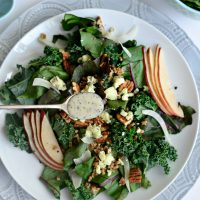 Winter Kale and Beet Greens Salad with Pear, Gorgonzola and Fennel