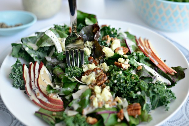 Simply Scratch Winter Kale and Beet Greens Salad with Pear, Gorgonzola ...
