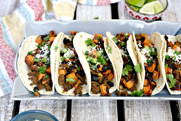 Chorizo Sweet Potato Black Bean Tacos l SimplyScratch.com