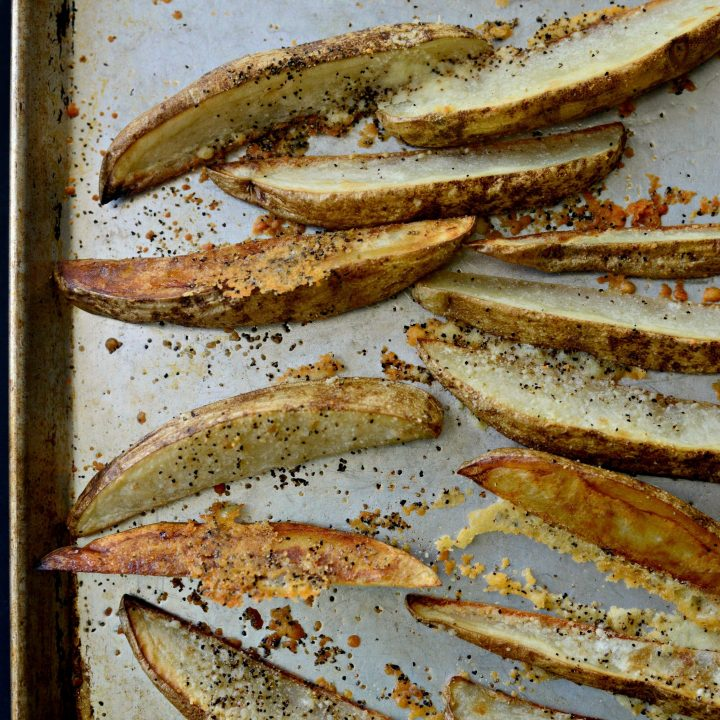 Black Pepper Parmesan Frico Potato Wedges