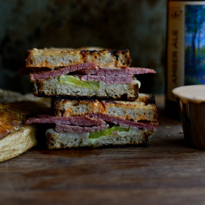 Grilled Corned Beef and Swiss on Rye Sandwich