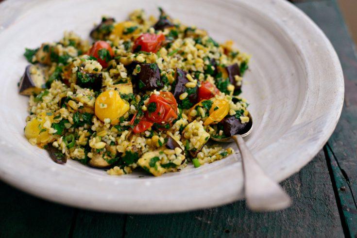 Roasted Vegetable Freekeh Salad + Lemon Mint Vinaigrette