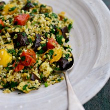 Roasted Vegetable Freekeh Salad + Lemon Mint Vinaigrette l SimplyScratch.com  (24)