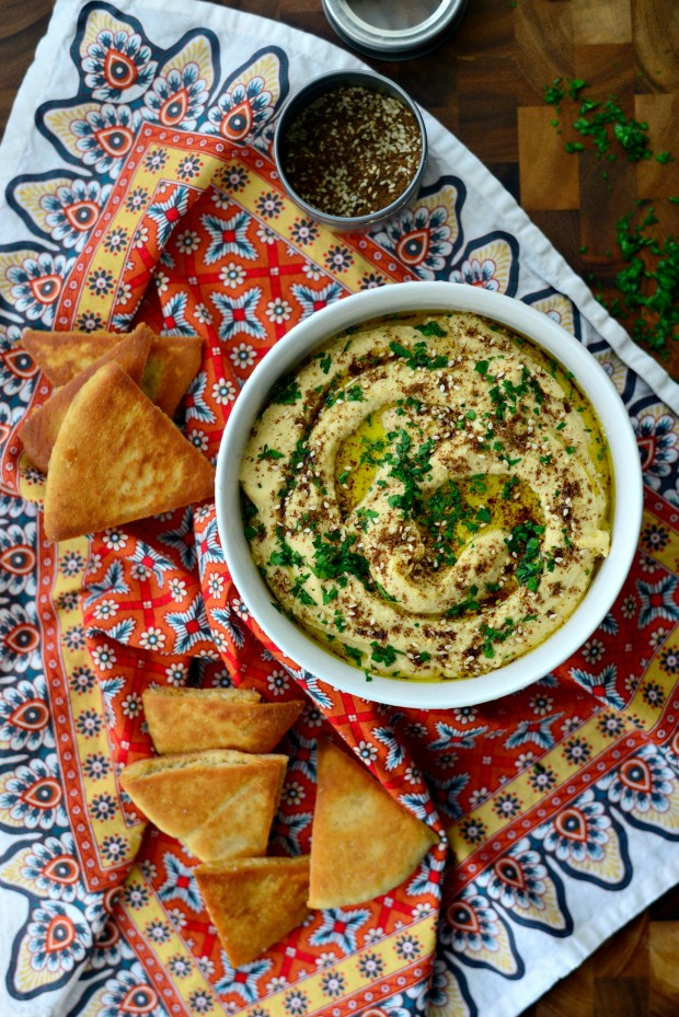 Za'atar Roasted Garlic Hummus l SimplyScratch.com