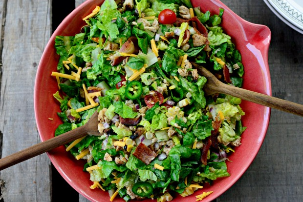 Bacon + Chicken Chopped Salad with Smoky Cilantro Avocado Dressing l SimplyScratch.com (14)