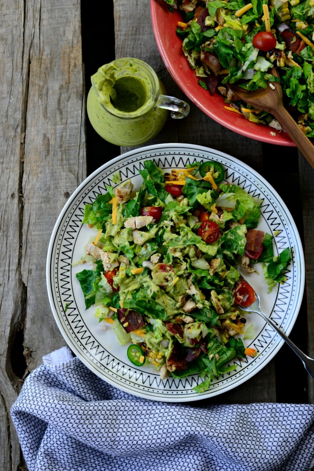 Bacon Chicken Chopped Salad with Smoky Cilantro Avocado Dressing l SimplyScratch.com