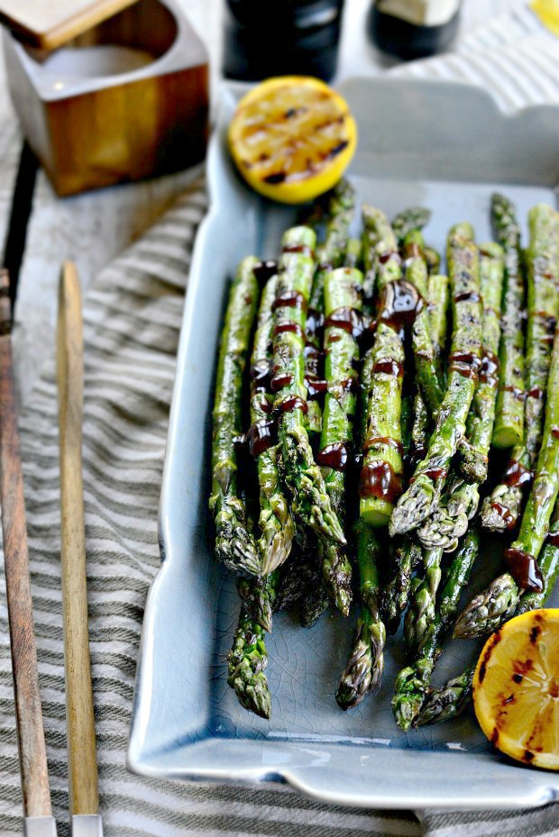 Grilled Asparagus with Balsamic Honey Dijon Dressing l SimplyScratch.com