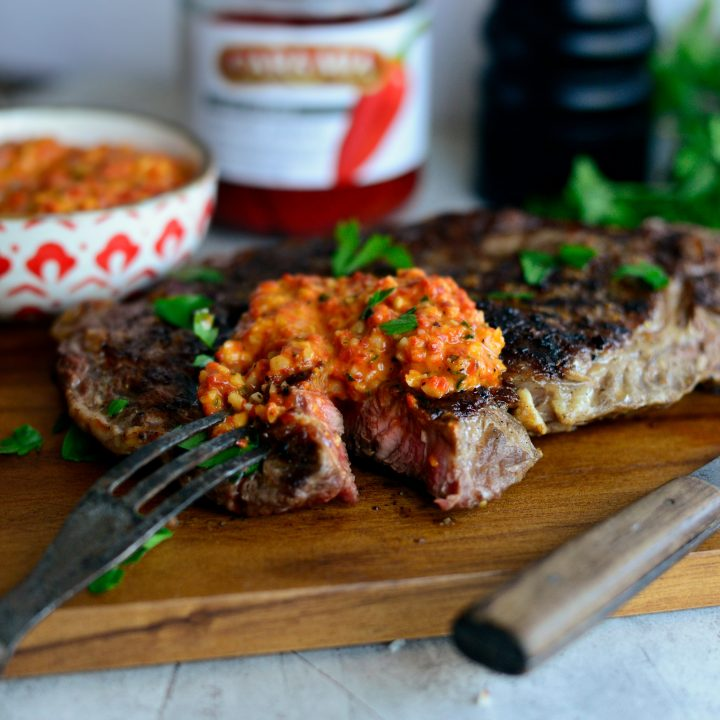 Grilled Steak with Piquillo Pepper Pesto