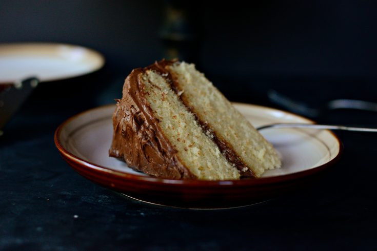 Homemade Yellow Cake with Whipped Chocolate Frosting