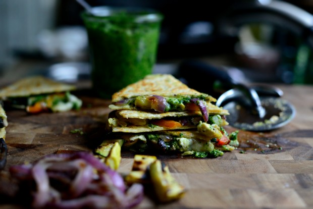 Grilled Vegetable Spinach Pesto Quesadillas l SimplyScratch.com