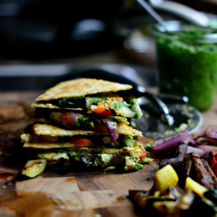 Grilled Vegetable Spinach Pesto Quesadillas