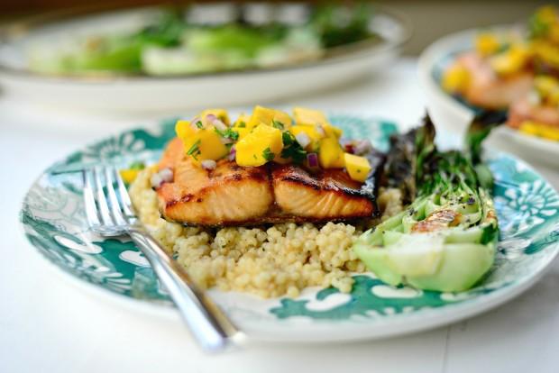 Honey Glazed Salmon + Fresh Mango Salsa (014)