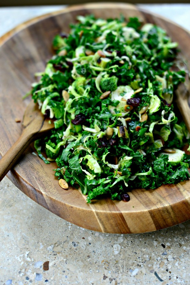 Kale Brussels Sprout Chopped Salad l SimplyScratch.com