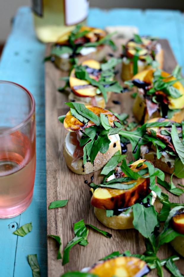 Peach Prosciutto Goat Cheese Crostini l SimplyScratch.com