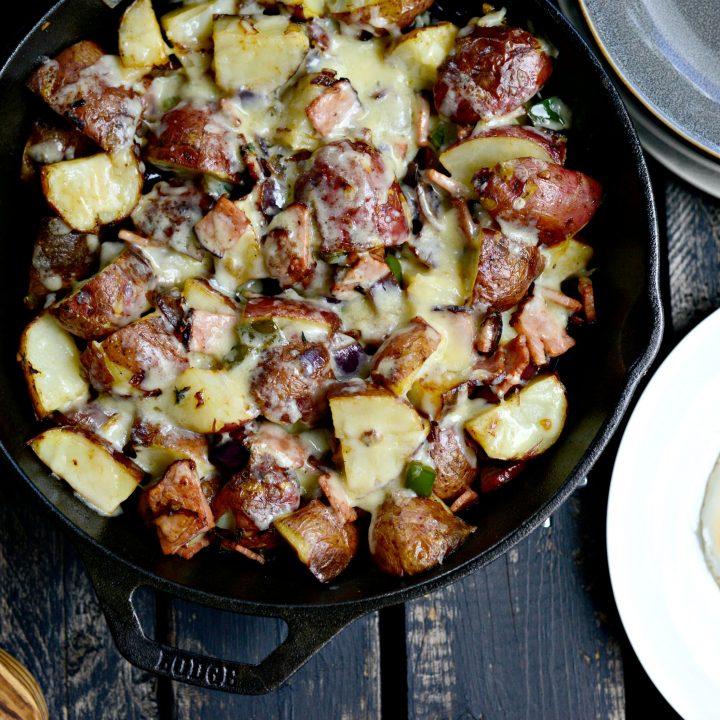 Cheesy Fried Ham and Potato Breakfast Skillet