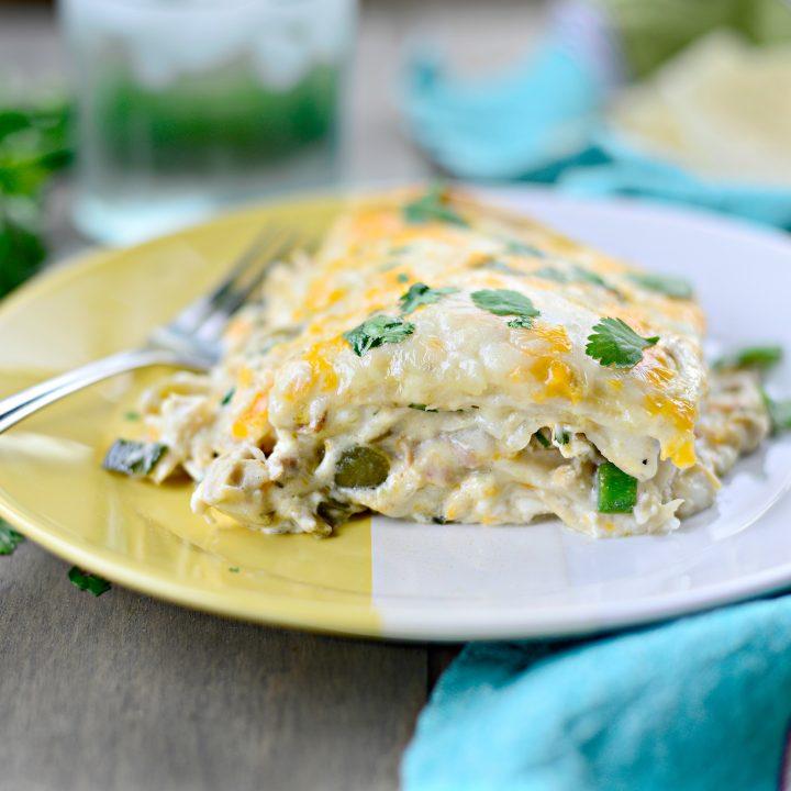 White Chicken Enchilada Lasagna