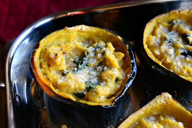 Twice Baked Spinach + Parmesan Acorn Squash l SimplyScratch.com (23)