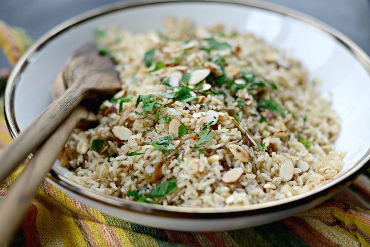 Garlicky Toasted Almond Basmati Rice