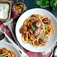 Italian Sausage Bucatini in a Fire Roasted Tomato Sauce