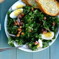 Winter Kale + Crispy Pancetta Salad with Bleu Cheese Toasts