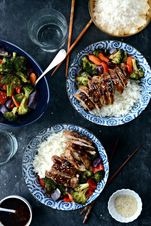Grilled Chicken Teriyaki Rice Bowls l SimplyScratch.com