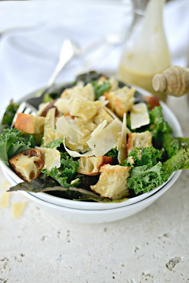 Kale Caesar Salad + a Light Caesar Vinaigrette l SimplyScratch.com