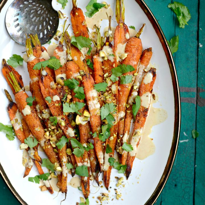 Turmeric Roasted Carrots + Lemon Tahini Dressing