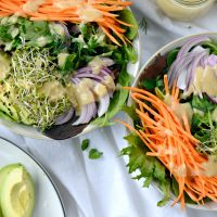 Avocado + Raw Sweet Potato Salad with Miso Dressing