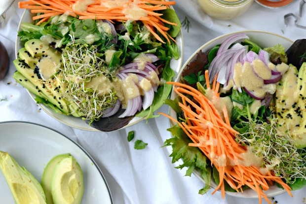 Avocado + Raw Sweet Potato and Herbed Salad with Miso Dressing l SimplyScratch.com - raw sweet potato salad