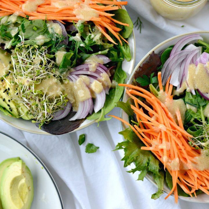 Avocado + Raw Sweet Potato Salad with Miso Dressing