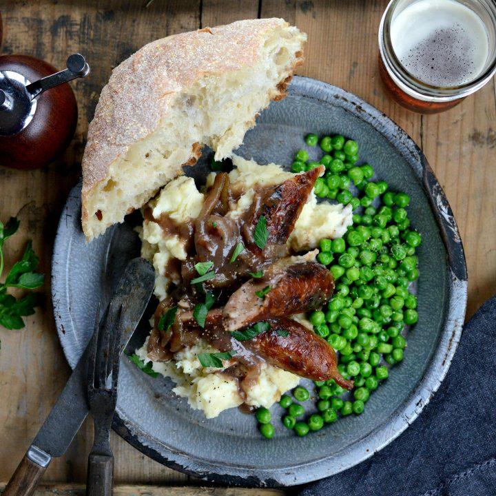 Irish Bangers and Mash with Caramelized Onion Gravy