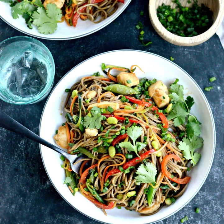 Chicken and Spring Vegetable Soba Noodle Stir-fry