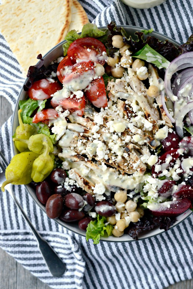 Grilled Chicken Greek Salad + Creamy Greek Dressing l SimplyScratch.com