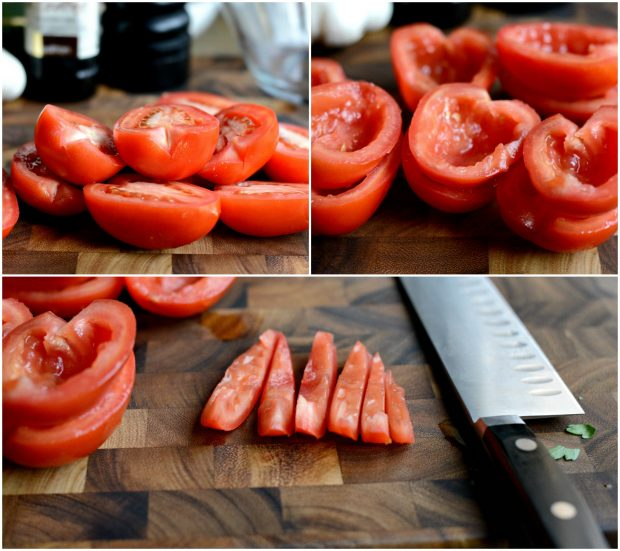 how to cut roma tomatoes for bruschetta