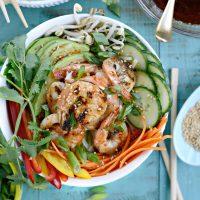Grilled Shrimp Spring Roll Noodle Bowls