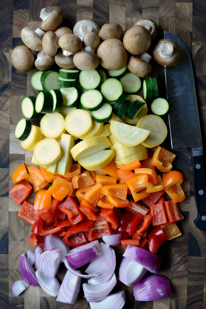 vegetables chopped and prepped for the grill