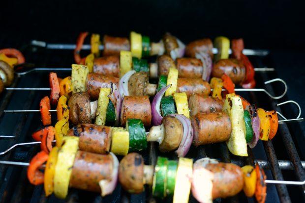 grilled chicken sausage vegetable kebabs