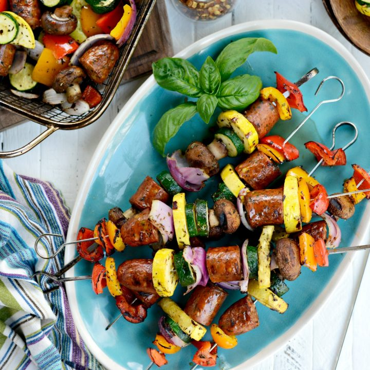 30-minute Chicken Sausage and Italian Vegetable Kebabs