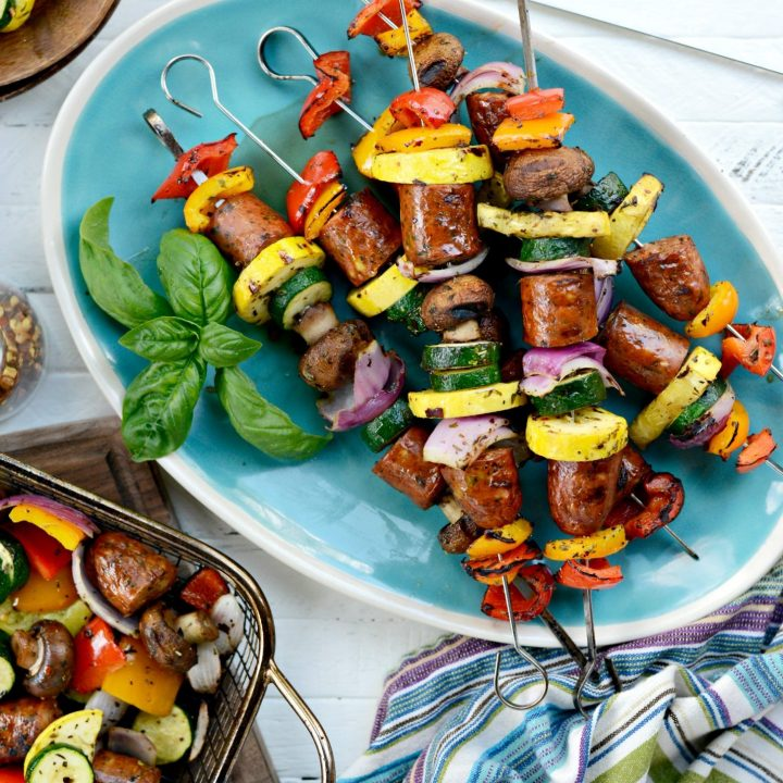 30-minute Chicken Sausage and Italian Vegetable Kebabs