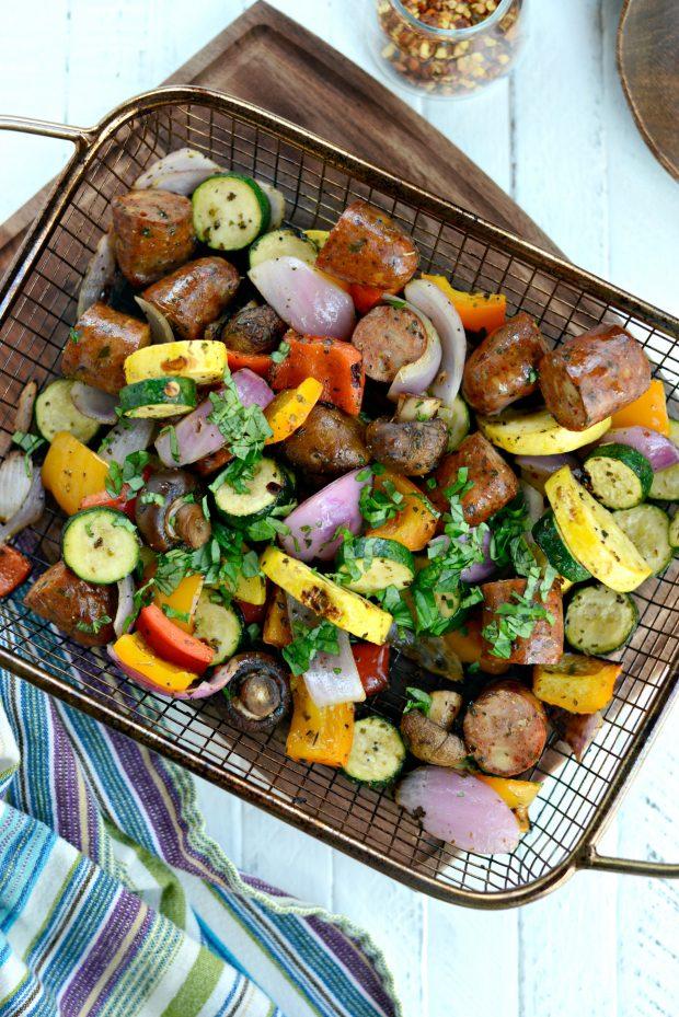 30-minute Chicken Sausage + Italian Vegetable Kebabs in basket