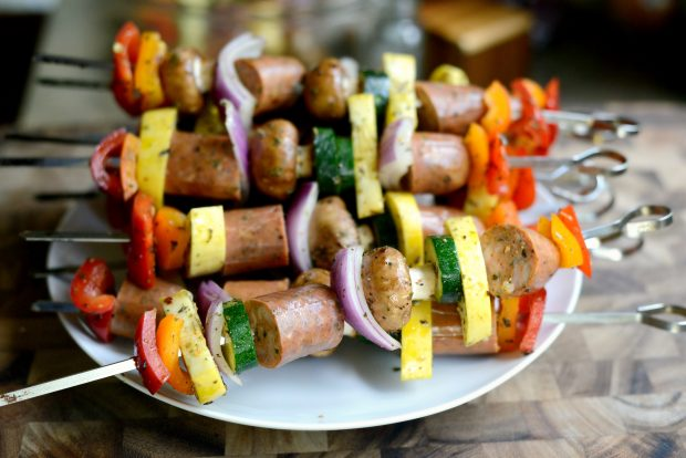 chicken sausage vegetable kebabs