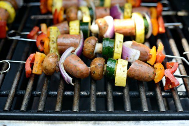 grilling chicken sausage vegetable kebabs