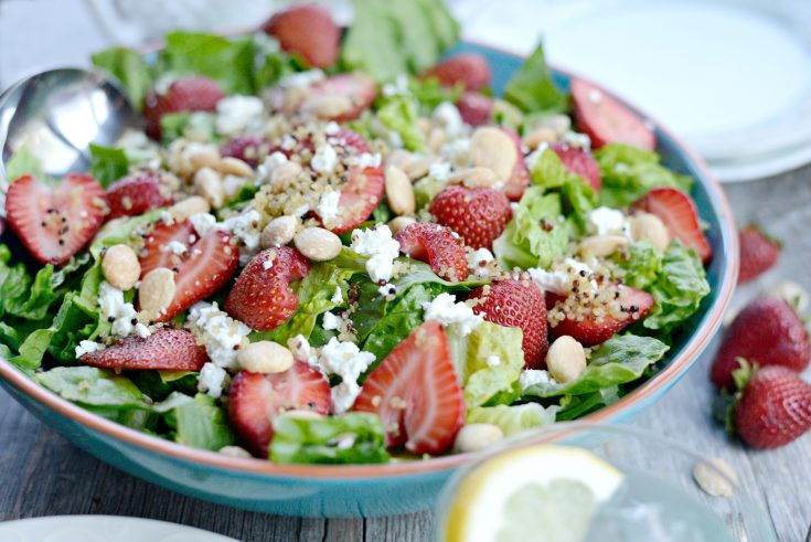 Strawberry and Goat Cheese Salad with Crispy Fried Quinoa
